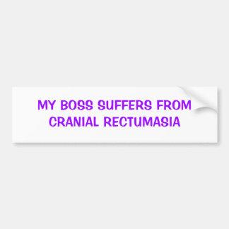 MY BOSS SUFFERS FROM CRANIAL RECTUMASIA BUMPER STICKER