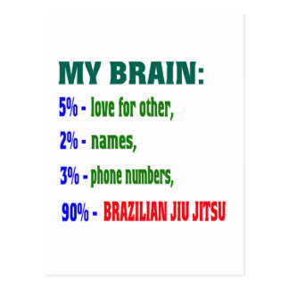 My Brain 90 % Brazilian Jiu Jitsu. Postcard