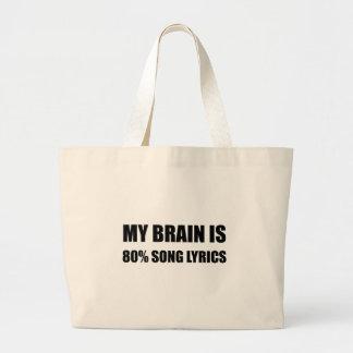 My Brain Is 80 Percent Song Lyrics Large Tote Bag