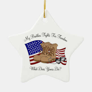 My Brother Fights For Freedom Ceramic Star Ornament