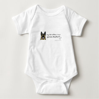 my brother is a german shepherd baby bodysuit