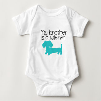My Brother is a Wiener (blue dog puppy) Baby Bodysuit