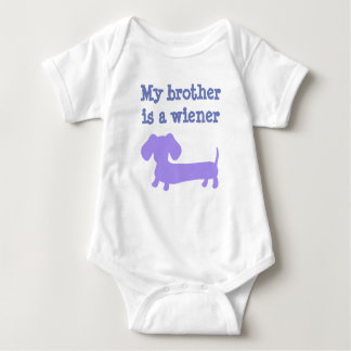 My Brother is a Wiener Dog - Purple for Girls Baby Bodysuit