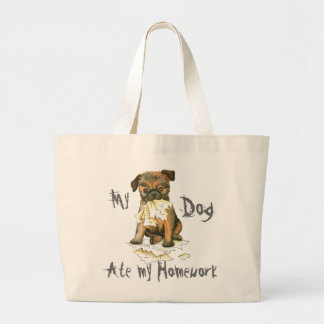 My Brussels Griffon Ate My Homework Large Tote Bag