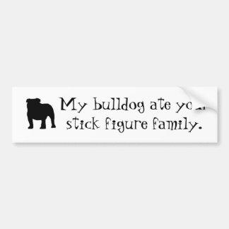 My Bulldog Ate Your Stick Figure Family Bumper Sticker