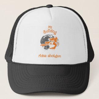 My Bulldog Rides Shotgun Halloween Trucker Hat