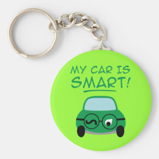 My Car Is Smart Basic Round Button Keychain