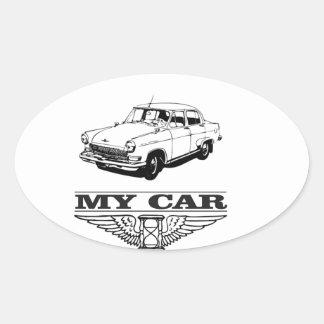 my car solid steel oval sticker