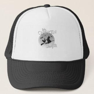 My Chicken Rides Shotgun Halloween Pet Gifts Trucker Hat