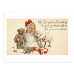 MY Christmas Greeting Child with Teddy Bear Postcard