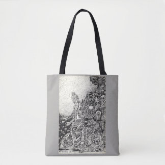 My city driven by fire into the sea. tote bag