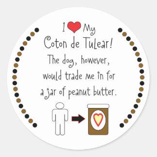 My Coton de Tulear Loves Peanut Butter Round Stickers