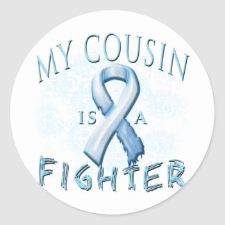 My Cousin is a Fighter Light Blue Round Sticker