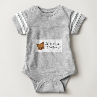 My cousin is a yorkie baby bodysuit