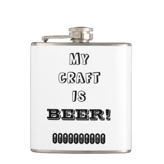 My Craft is Beer! Black on White Hip Flasks