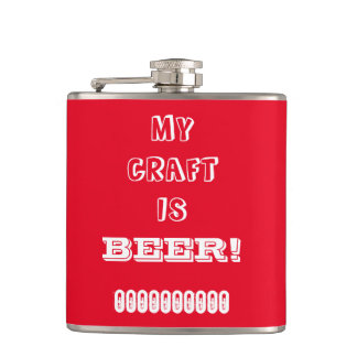 My Craft is Beer! Red Hip Flask