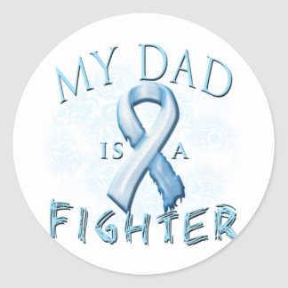 My Dad is a Fighter Light Blue Round Sticker