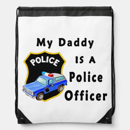 My Dad Is A Police Officer Drawstring Backpacks