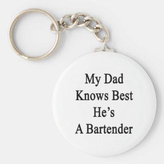 My Dad Knows Best He's A Bartender Basic Round Button Keychain