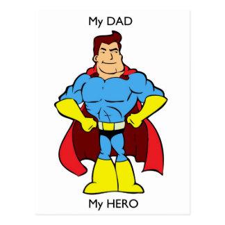 My Dad My Hero SuperHero Postcard