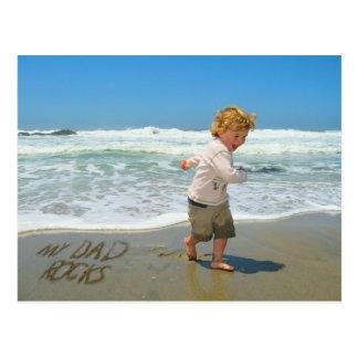 My Dad Rocks! Sand Writing Fun on the Beach Postcard
