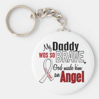 My Daddy Is An Angel Lung Cancer Basic Round Button Keychain