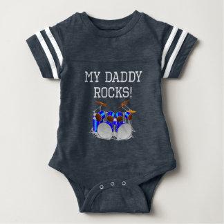 My Daddy Rocks Drums Baby Bodysuit