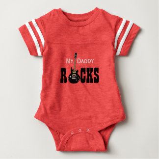 """My Daddy Rocks!"" with electric guitar Baby Bodysuit"