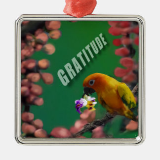 My deepest thanks to you. Silver-Colored square ornament