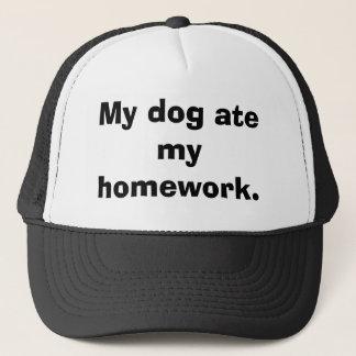 My dog ate my homework. trucker hat