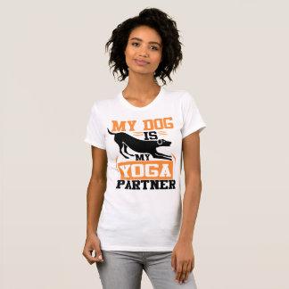 My Dog is My Yoga Partner - Black and Orange T-Shirt