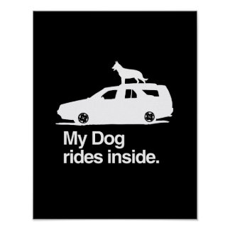 My dog rides inside - png print