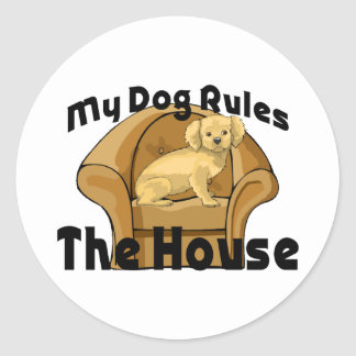 My Dog Rules The House Round Sticker