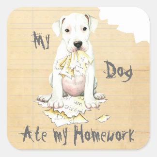 My Dogo Ate My Homework Square Sticker