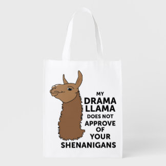 My Drama Llama Does Not Approve Your Shenanigans Reusable Grocery Bag