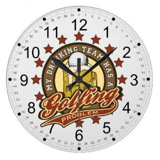 My Drinking Team has a Golfing Problem Wall Clocks