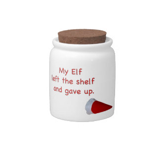 My Elf left the shelf and gave up Candy Jars