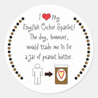 My English Cocker Spaniel Loves Peanut Butter Round Sticker