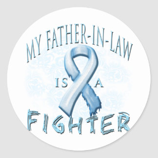 My Father-In-Law is a Fighter Light Blue Round Sticker