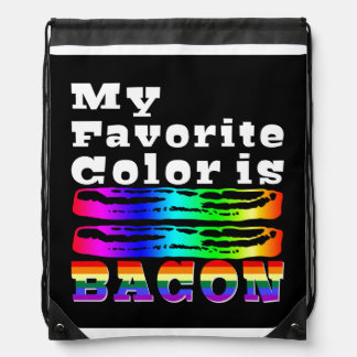 My Favorite Color is Bacon Drawstring Bag