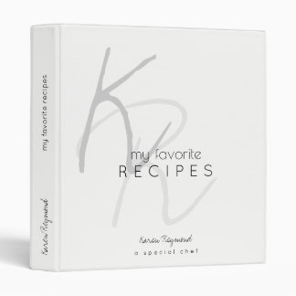 my favorite recipes monogrammed white binder book