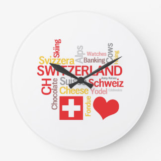 My Favorite Swiss Things Funny Large Clock