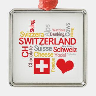 My Favorite Swiss Things Funny Metal Ornament