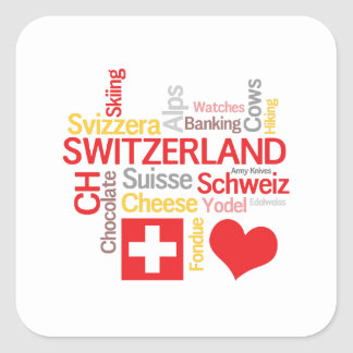 My Favorite Swiss Things Funny Square Sticker