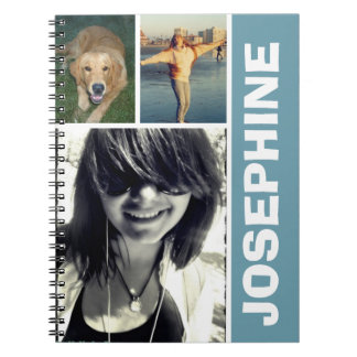 My favorite things blue photo collage journal note book