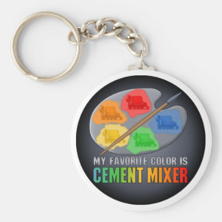 My Favourite Colour Is Cement Mixer Truck Key Basic Round Button Keychain