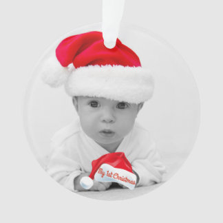 My First Christmas Baby Photo Name Santa Hat Ornament