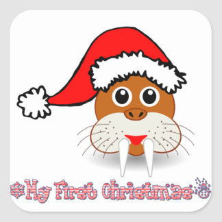 My First Christmas Baby Walrus Square Sticker