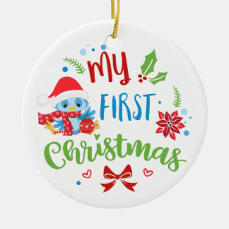 My First Christmas Blue Bird custom photo / year Ceramic Ornament