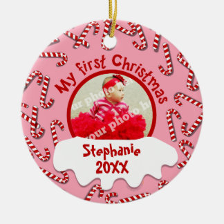 My First Christmas Candy Canes Pink Custom Photo Round Ceramic Ornament
